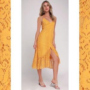 Bohemian Lace Button Midi Dress Boho Femme